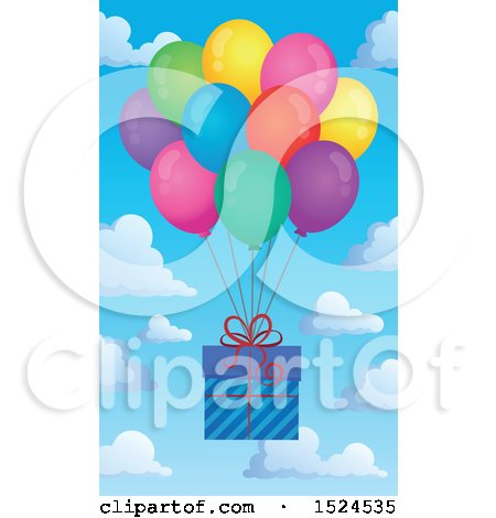 Clipart of a Present Floating with Colorful Party Balloons over Sky - Royalty Free Vector Illustration by visekart