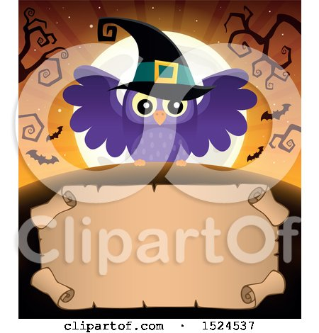 Clipart of a Parchment Scroll Under a Halloween Witch Owl, Full Moon and Bats - Royalty Free Vector Illustration by visekart
