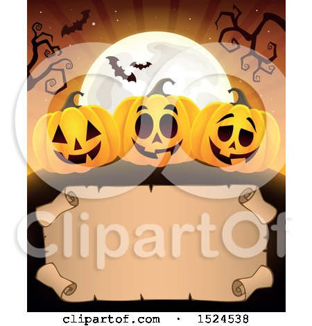 Clipart of a Parchment Scroll Under Halloween Jackolantern Pumpkins, a Full Moon and Bats - Royalty Free Vector Illustration by visekart
