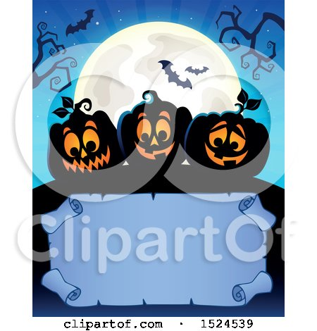 Clipart of a Parchment Scroll Under Black Halloween Jackolantern Pumpkins, a Full Moon and Bats - Royalty Free Vector Illustration by visekart