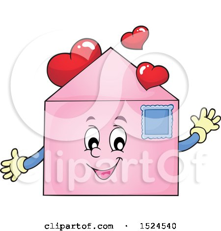 Clipart of a Valentine Envelope Character with Love Hearts - Royalty Free Vector Illustration by visekart