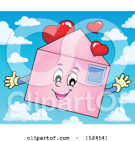 Clipart of a Valentine Envelope Character with Love Hearts over Sky - Royalty Free Vector Illustration by visekart