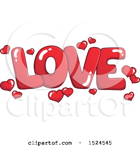 Clipart of a Red Word Love with Valentines Day Hearts - Royalty Free Vector Illustration by visekart