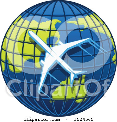 Clipart of a Silhouetted Airplane Flying Around Planet Earth - Royalty Free Vector Illustration by Vector Tradition SM