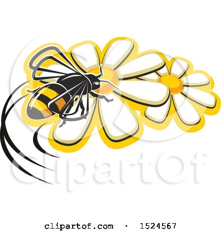 Clipart of a Bee on Flowers - Royalty Free Vector Illustration by Vector Tradition SM