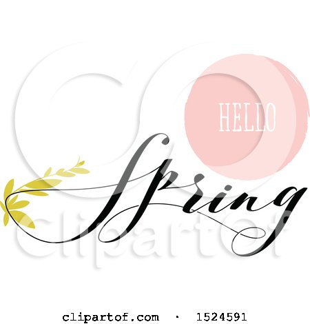 Clipart of a Hello Spring Design with Green Leaves - Royalty Free Vector Illustration by elena