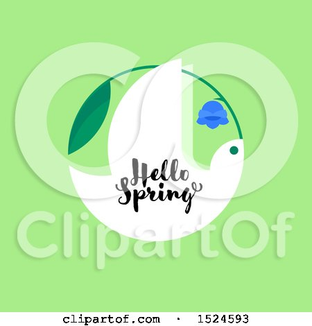 Clipart of a Hello Spring Design a Dove and Bluebell Flower, on Green - Royalty Free Vector Illustration by elena