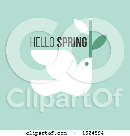 Clipart of a Hello Spring Design a Dove and Twig, on Green - Royalty Free Vector Illustration by elena