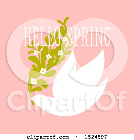 Clipart of a Hello Spring Design a Dove and Flowers on Pink - Royalty Free Vector Illustration by elena