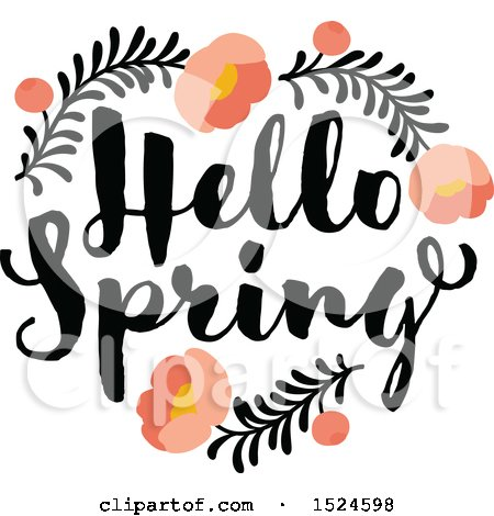 Clipart of a Hello Spring Design with a Floral Peony Heart - Royalty Free Vector Illustration by elena