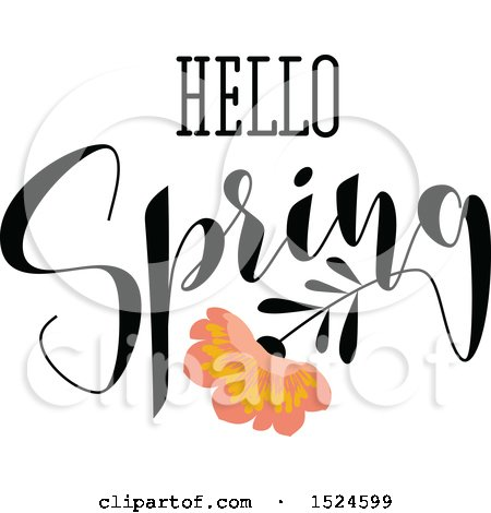 Clipart of a Hello Spring Design with a Flower - Royalty Free Vector Illustration by elena