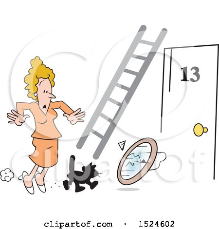 Clipart of a Superstition Scene of a Black Cat Crossing an Unlucky Womans Path, Ladder, Door Number 13, and a Broken Mirror - Royalty Free Vector Illustration by Johnny Sajem