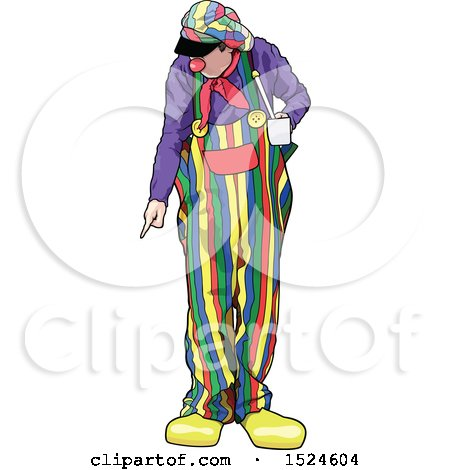 Clipart of a Clown Looking down and Pointing - Royalty Free Vector Illustration by dero
