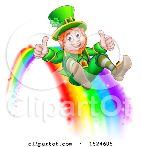 Clipart of a St Patricks Day Leprechaun Giving Two Thumbs up and Sliding down a Rainbow - Royalty Free Vector Illustration by AtStockIllustration