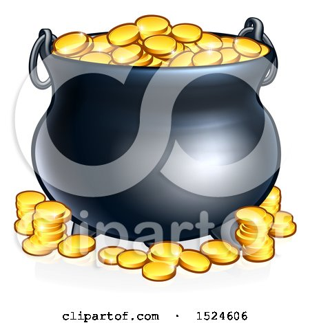 Clipart of a St Patricks Day Leprechaun Pot of Gold - Royalty Free Vector Illustration by AtStockIllustration