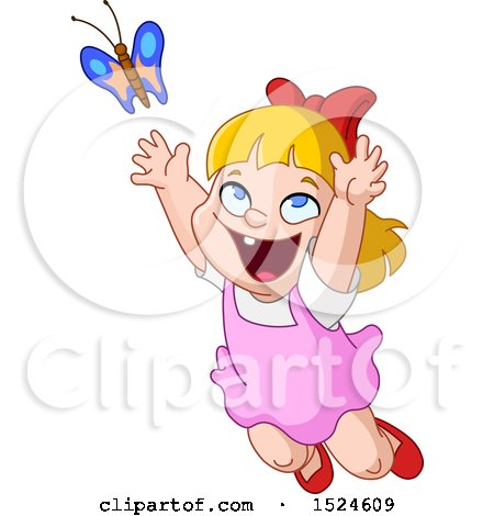 Clipart of a Cartoon Excited Blond Girl Chasing a Butterfly - Royalty Free Vector Illustration by yayayoyo