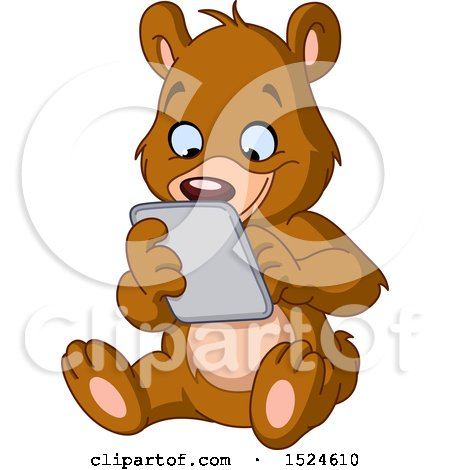 Clipart of a Cartoon Happy Teddy Bear Using a Tablet - Royalty Free Vector Illustration by yayayoyo