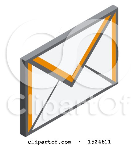 Clipart of a 3d Isometric Envelope Icon - Royalty Free Vector Illustration by beboy