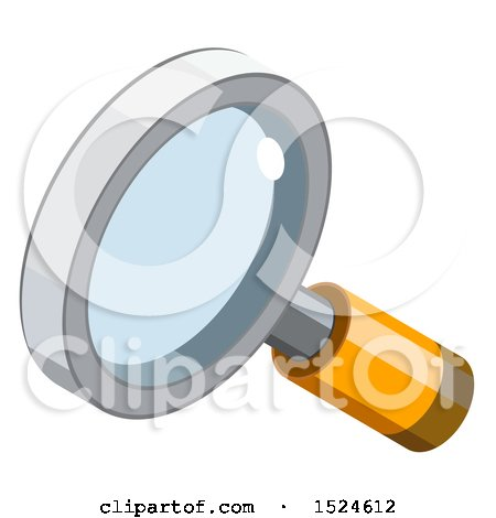 Clipart of a 3d Isometric Magnifying Glass Search Icon - Royalty Free Vector Illustration by beboy