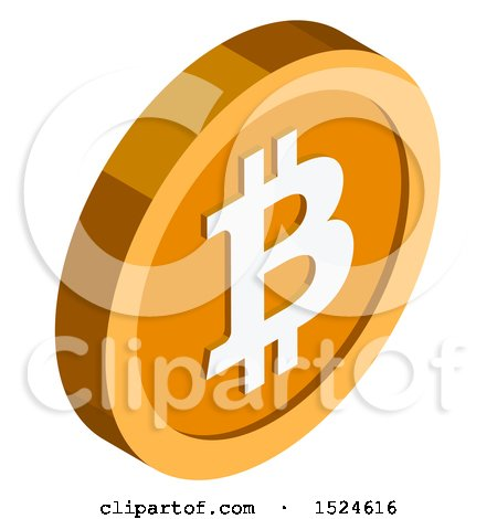 Clipart of a 3d Isometric Bitcoin Icon - Royalty Free Vector Illustration by beboy