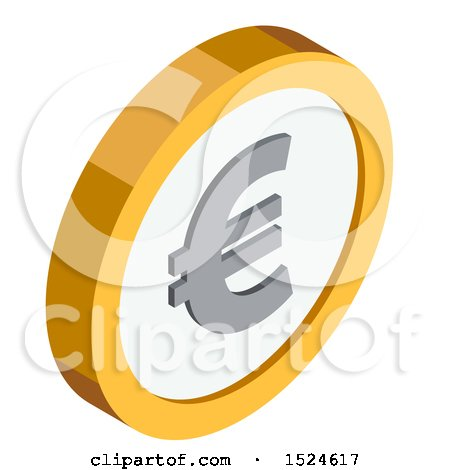 Clipart of a 3d Isometric Euro Coin Icon - Royalty Free Vector Illustration by beboy