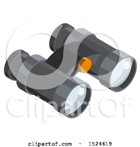 Clipart of a 3d Isometric Binoculars Icon - Royalty Free Vector Illustration by beboy