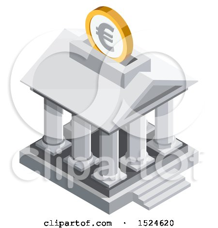 Clipart of a 3d Isometric Euro Coin over a Bank Icon - Royalty Free Vector Illustration by beboy