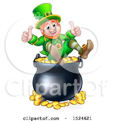 Clipart of a St Patricks Day Leprechaun Giving Two Thumbs up on Top of a Pot of Gold - Royalty Free Vector Illustration by AtStockIllustration