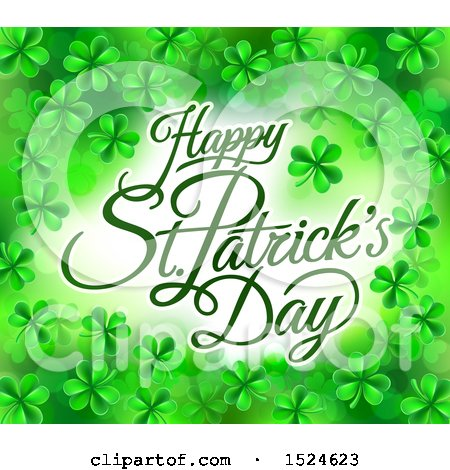 Clipart of a Happy St Patricks Day Greeting in a Border of Shamrocks - Royalty Free Vector Illustration by AtStockIllustration