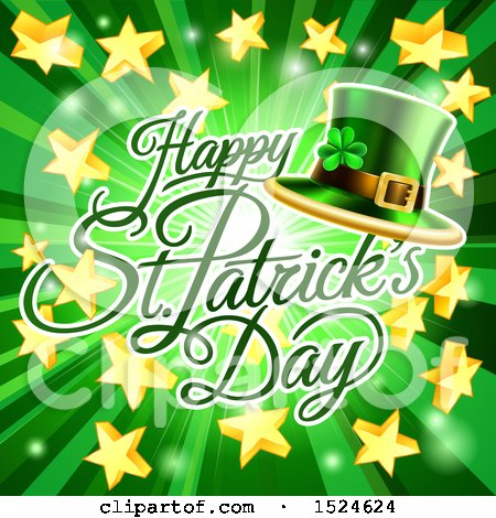 Clipart of a Happy St Patricks Day Greeting over a Green Ray Burst with Stars and a Leprechaun Hat - Royalty Free Vector Illustration by AtStockIllustration