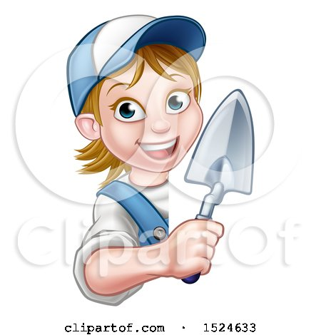 Clipart of a Female Mason Holding a Trowel Around a Sign - Royalty Free Vector Illustration by AtStockIllustration