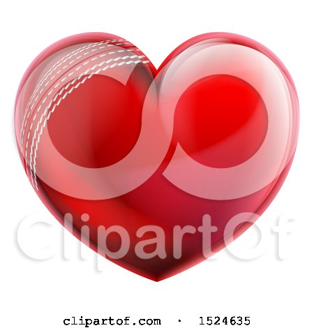 Clipart of a Heart Shaped Cricket Ball - Royalty Free Vector Illustration by AtStockIllustration