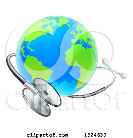 Clipart of a 3d World Earth Globe with a Medical Stethoscope - Royalty Free Vector Illustration by AtStockIllustration
