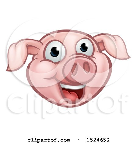 Clipart of a Happy Pink Pig Mascot Face - Royalty Free Vector Illustration by AtStockIllustration