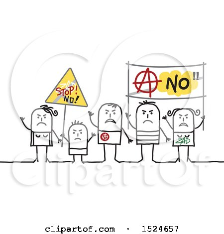 Clipart of a Stick Family Protesting with Signs - Royalty Free Vector Illustration by NL shop