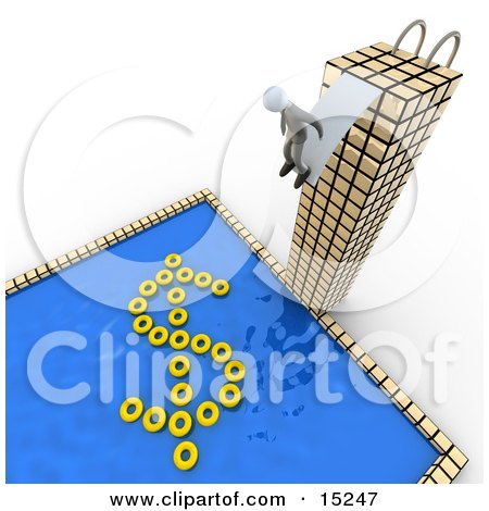 Successful Businessman Standing At The Edge Of A Diving Board At The Top Of A Tall Skyscraper Building, Preparing To Jump Into A Pool With Yellow Inner Tubes Forming The Shape Of A Dollar Sign Clipart Illustration Image by 3poD