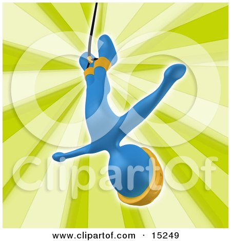 Blue Bungee Jumper In A Yellow Helmet, Falling While Bungee Jumping Clipart Illustration Image by 3poD