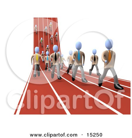 Competitive Businessmen Running Downhill And Forward On Lanes Of A Track While Racing For A Job Opportunity Clipart Illustration Image by 3poD