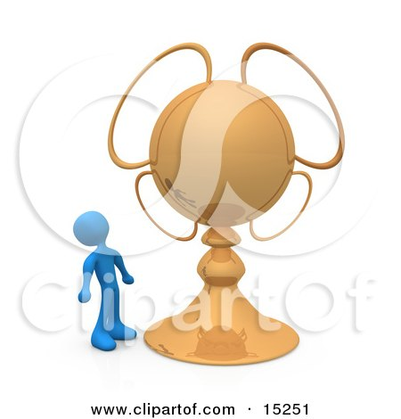 Blue Person Looking Upwards In Awe At His Championship Trophy Clipart Illustration Image by 3poD
