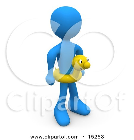 Blue Person Wearing A Yellow Inner Tube With A Face Around Their Waist At The Beach On Summer Vacation Clipart Illustration Image by 3poD