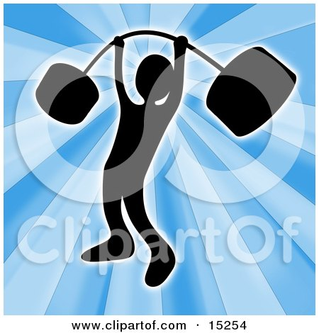 Strong Silhouetted Man Holding Heavy And Bending Barbell Weights Above His Head In A Fitness Gym Clipart Illustration Image by 3poD
