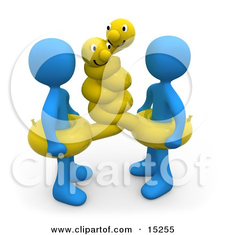 Two Blue People Wearing Hugging Yellow Inner Tubes With Faces Around Their Waists At The Beach On Summer Vacation  Posters, Art Prints
