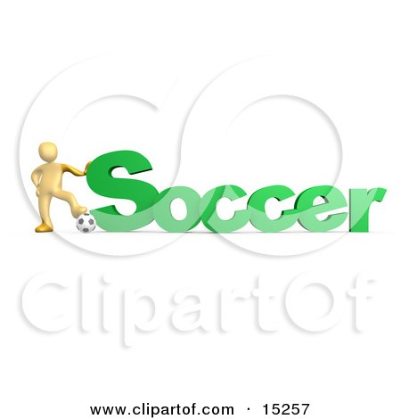 Golden Soccer Players Resting One Foot On A Soccer Ball And Resting A Hand On The Word Soccer  Posters, Art Prints