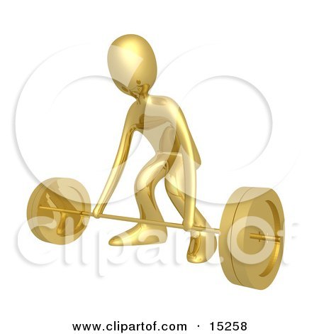Strong Gold Man Bending His Knees And Preparing To Lift Heavy Barbell Weights In A Fitness Gym Clipart Illustration Image by 3poD