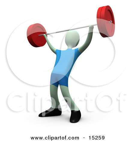 Strong Man Lifting Heavy Barbell Weights Above His Head In A Fitness Gym Clipart Illustration Image by 3poD