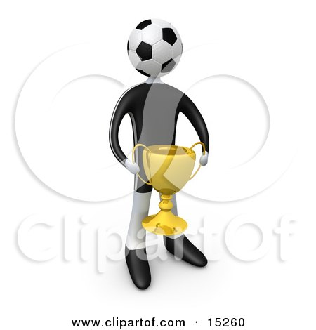Soccer Player Person With A Soccer Ball Head Holding A Golden Trophy Cup  Posters, Art Prints