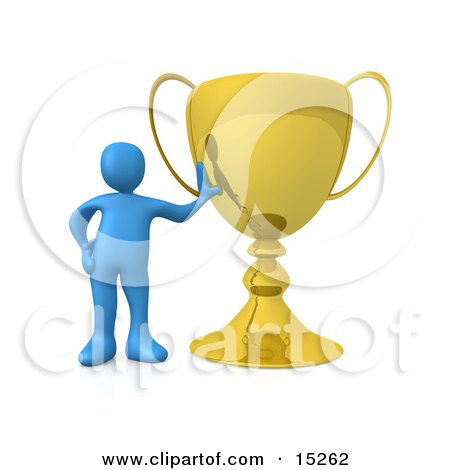 Winning Blue Athlete Person Leaning Against His Oversized Trophy Cup Clipart Illustration Image by 3poD