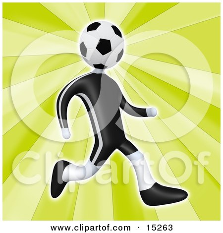 Soccer Player Person With A Soccer Ball Head Running Clipart Illustration Image by 3poD