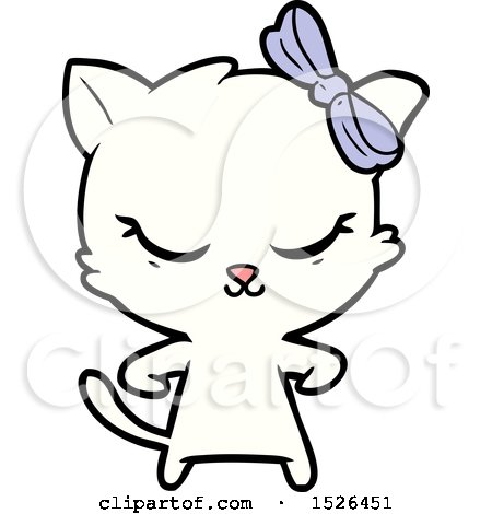Cute Cartoon Cat with Bow by lineartestpilot