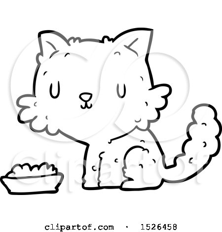 Cartoon Cat and Food by lineartestpilot